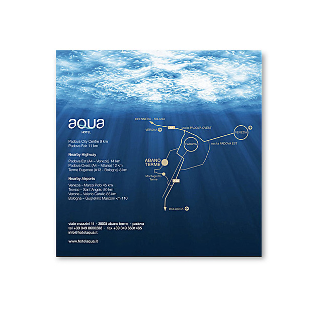 AQUA hotel brochure back